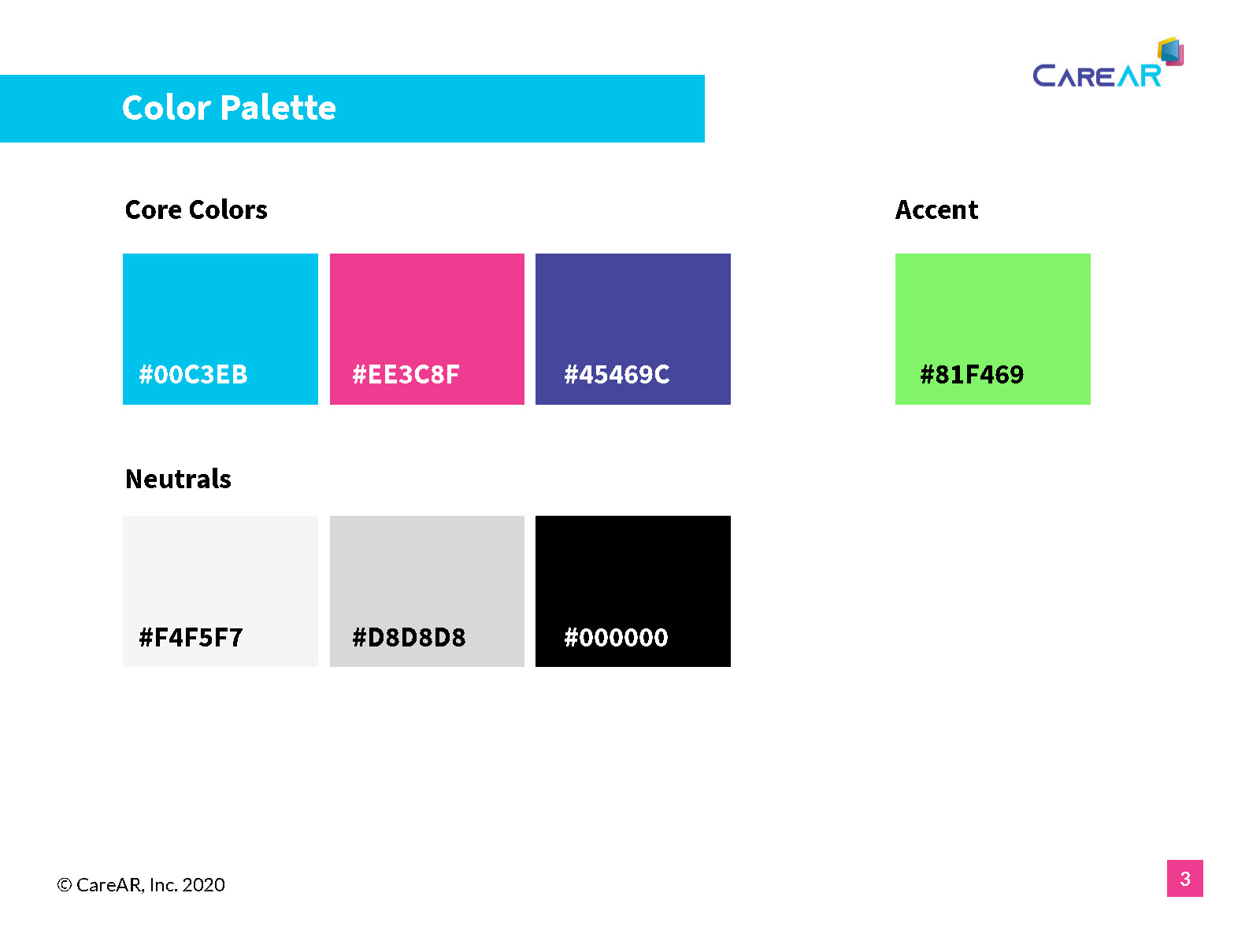CareAR Style Guide Page 2